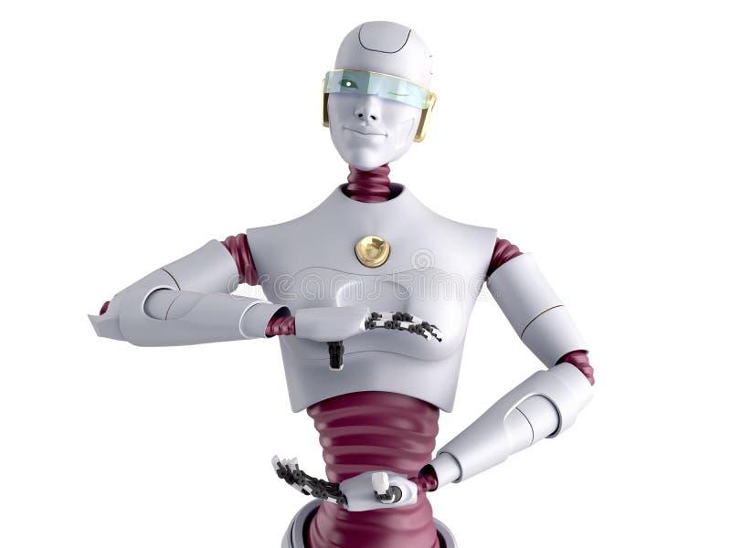 Concept moderne de présentation de produit robot féminin prêt à insérer un objet dans la main 3d rendu sur blanc illustration stock