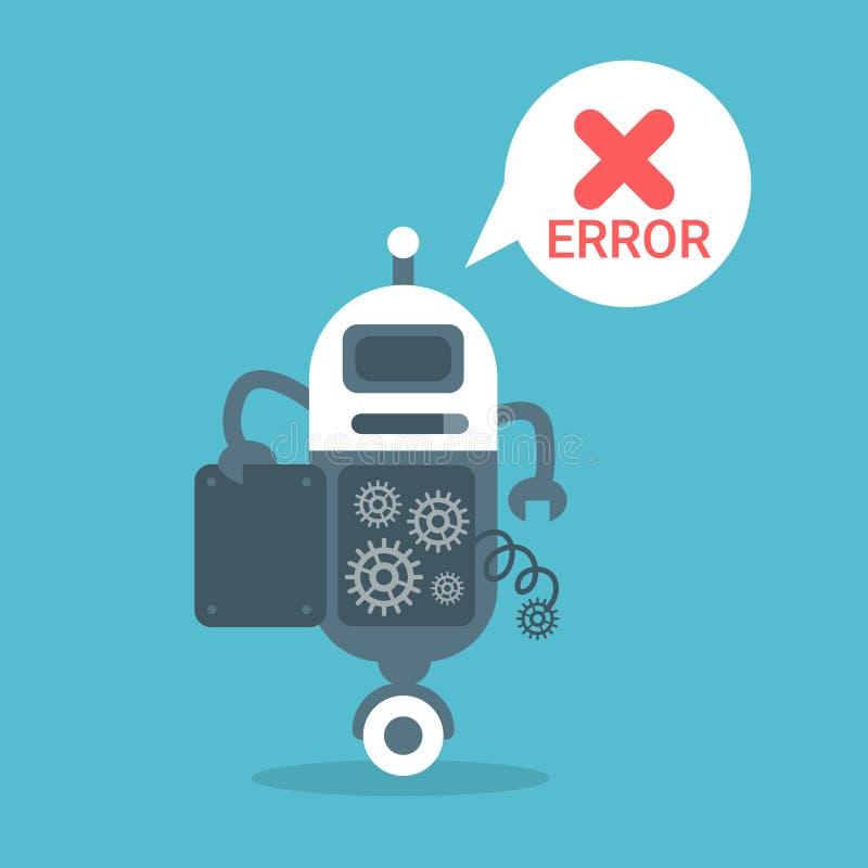Concept moderne de technologie d'intelligence artificielle de message d'erreur de robot illustration stock