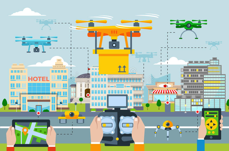 Concept moderne de technologies de grande ville illustration de vecteur