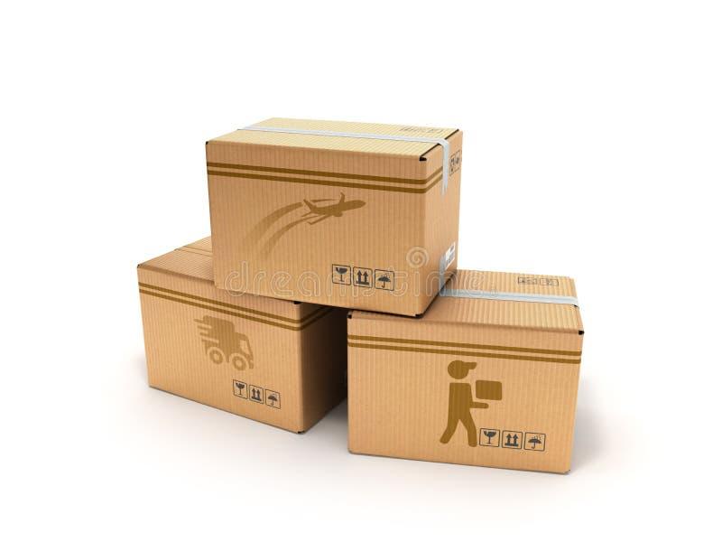 Concept moderne de tous les types de boîtes de la livraison avec des images de illustration de vecteur