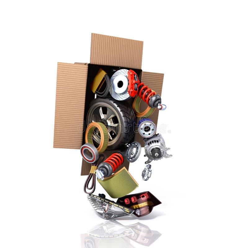 Concept moderne des approvisionnements des véhicules à moteur d'entretien de véhicule delive illustration stock