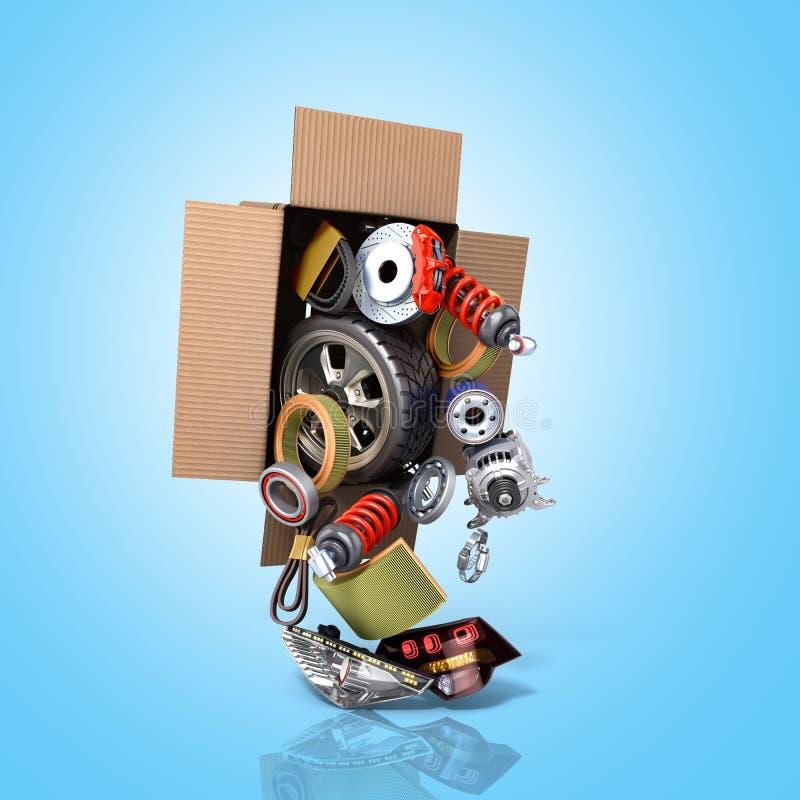 Concept moderne des approvisionnements des véhicules à moteur d'entretien de véhicule delive illustration libre de droits