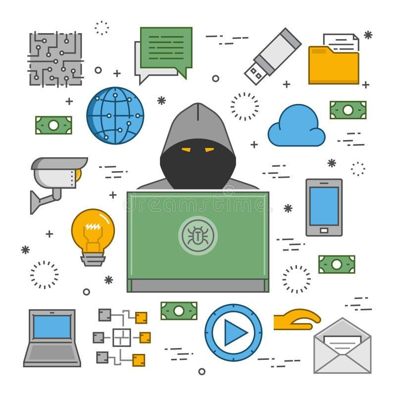 Concept moderne des crimes dans le secteur en ligne illustration de vecteur