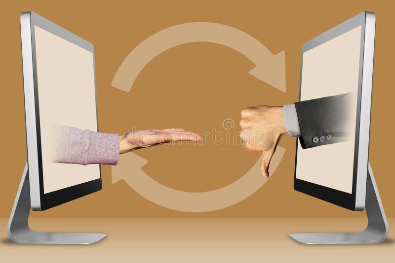 Concept moderne, deux mains à partir des ordinateurs parlant en faveur le geste et les pouces vers le bas, aversion illustration  photos libres de droits