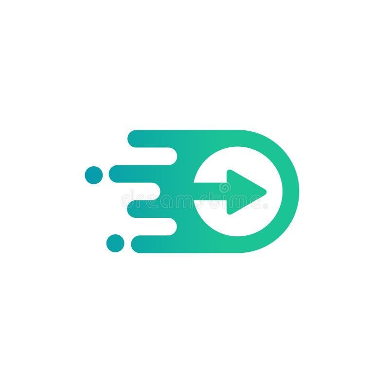 Concept moderne simple de vecteur de logo de jeu de media illustration stock