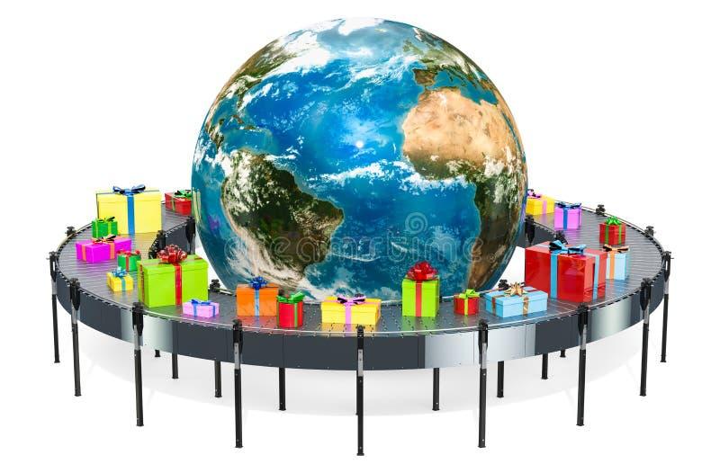 Concept mondial de la livraison de cadeau Boîte-cadeau sur l'aro de bande de conveyeur illustration libre de droits