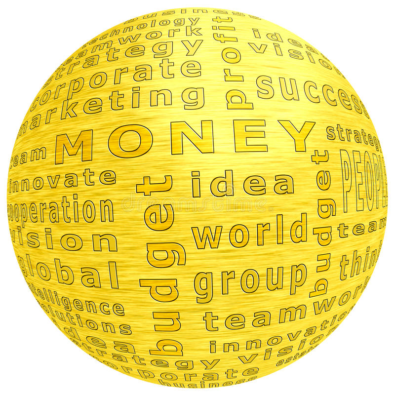 Concept of money. Golden ball with inscription money over white royalty free stock photography
