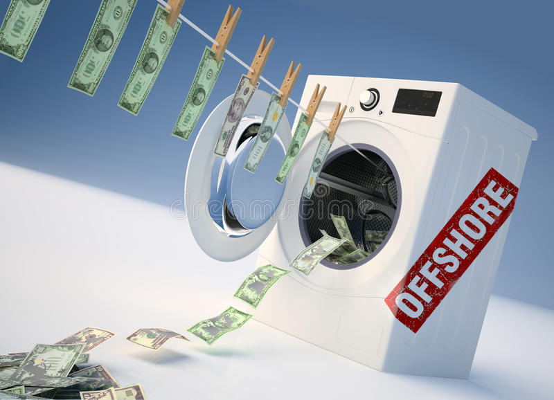 Concept of money laundering, money jump into the washing machine. royalty free stock photo