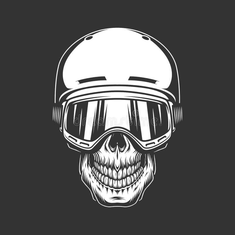 Concept monochrome de crâne de surfeur de vintage illustration stock