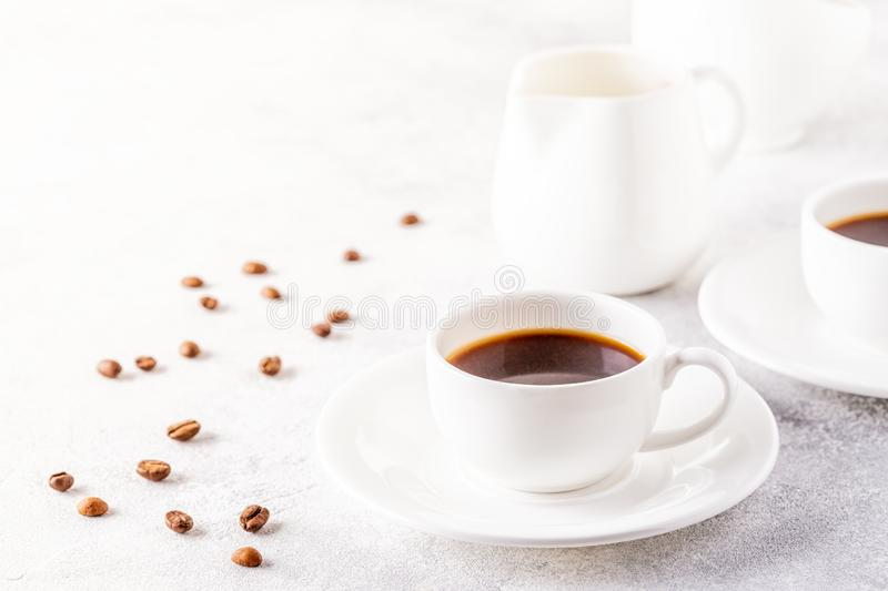 Concept of morning coffee, coffee break on a light background. Selective focus, copy space stock images
