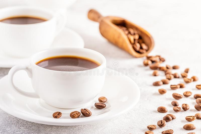 Concept of morning coffee, coffee break on a light background. Selective focus, copy space stock photos