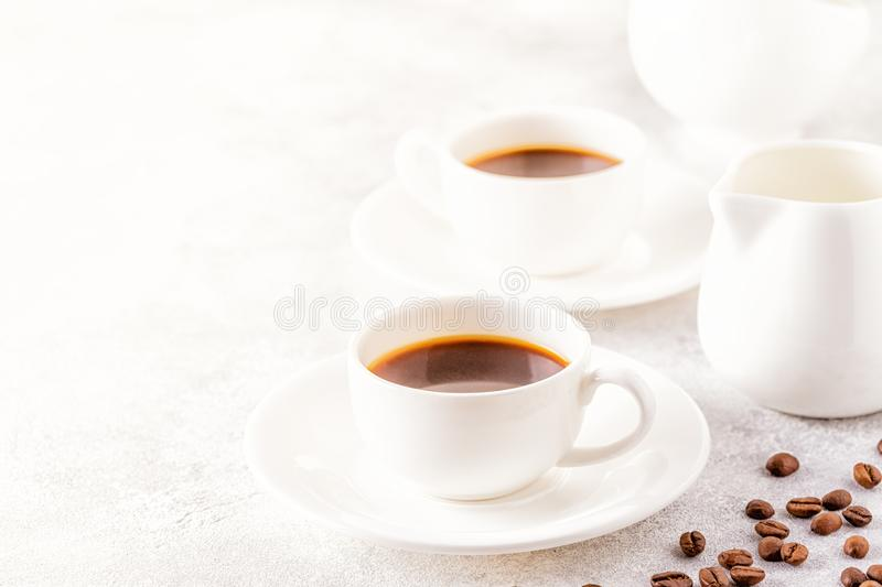 Concept of morning coffee, coffee break on a light background. Selective focus, copy space royalty free stock image