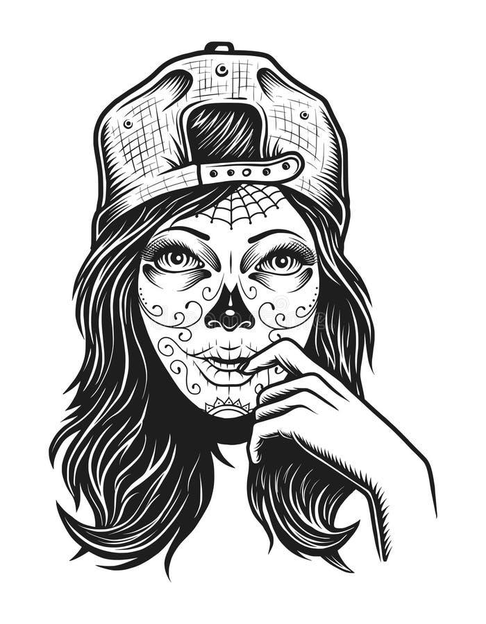 Concept mort de fille de vintage illustration stock
