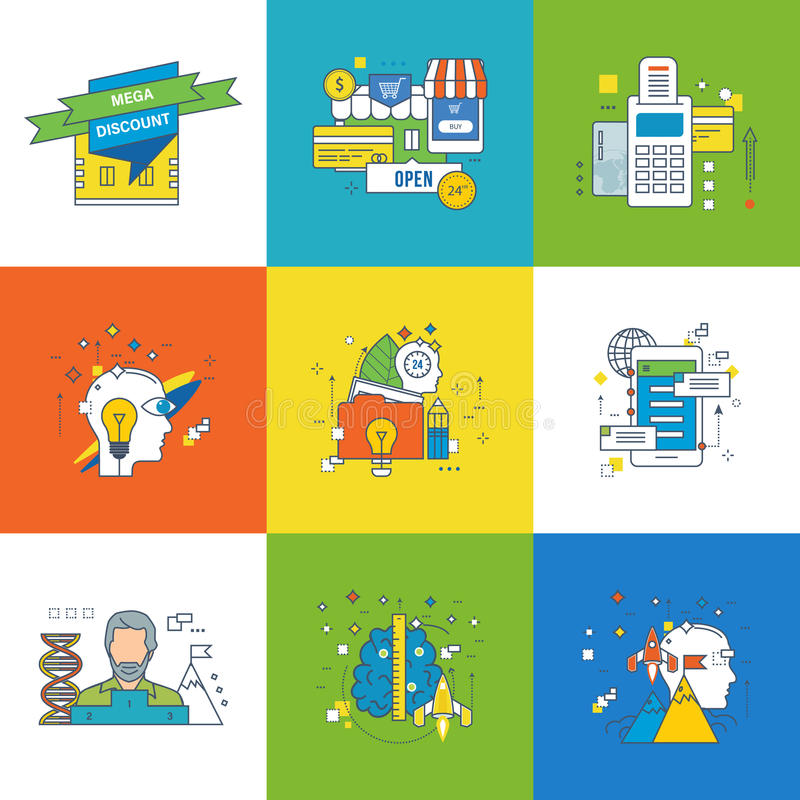 Concept of motivation, development, success in learning, startup and innovation. stock illustration