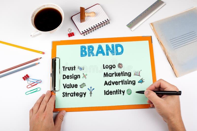 Concept, mots-clés et icônes de marque Bureau avec la papeterie images stock