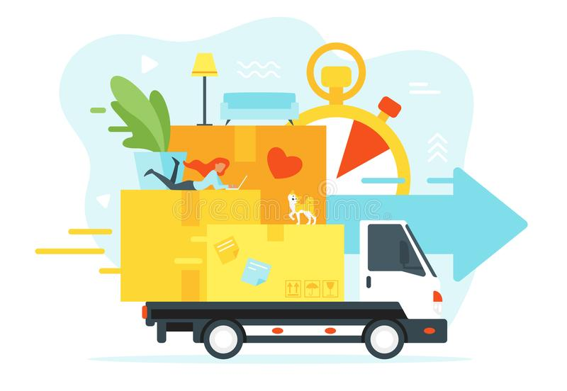 Concept for moving home. Vector flat style illustration for moving home and relocation. Woman silhouette lies on paper boxes. Minimalism design with exaggerated vector illustration