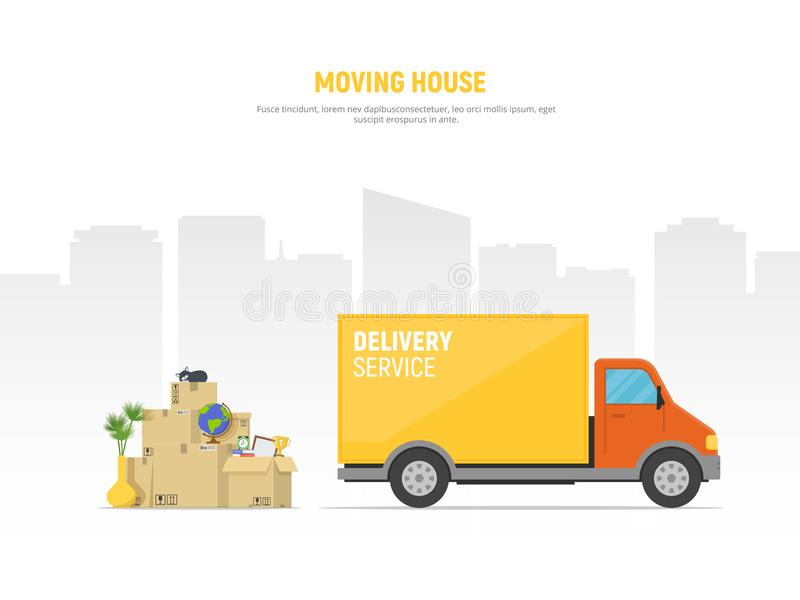 Concept moving house. Pile cardboard boxes with truck on cityscape background. Relocate to new home or office stock illustration