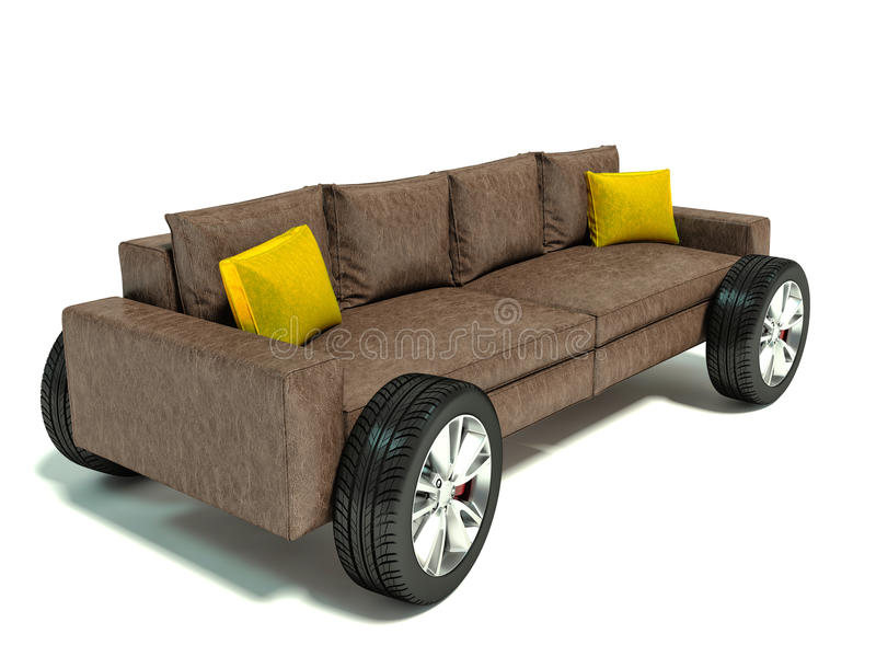 Download The Concept Of Moving To A New Home. Sofa On Wheels Stock  Illustration