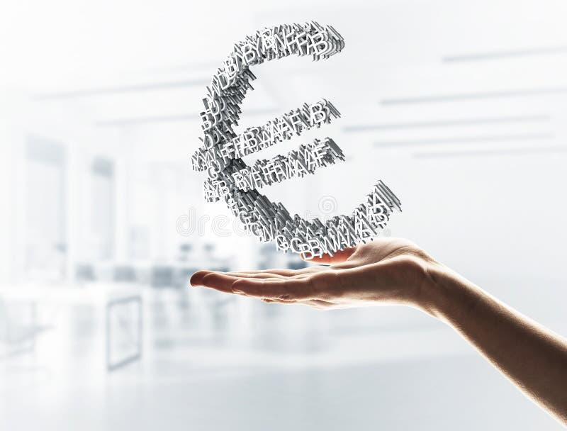 Concept munt door euro die symbool in mannelijke hand wordt voorgesteld gemengd royalty-vrije stock afbeeldingen