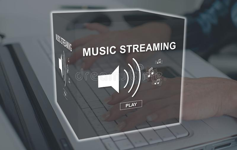 Concept of music streaming stock images
