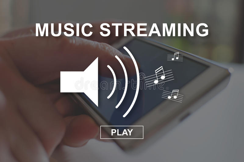 Concept of music streaming stock photography