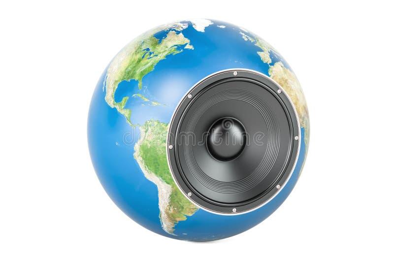 Concept musical global, globe de la terre avec le haut-parleur renderi 3D illustration de vecteur