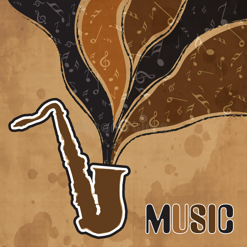 Concept of musical instrument with stylish text. Stylish text of Music and musical notes coming out from saxophone on retro grungy beige background royalty free illustration