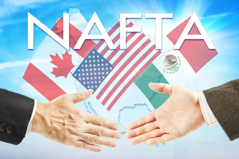 Concept of NAFTA stock photography