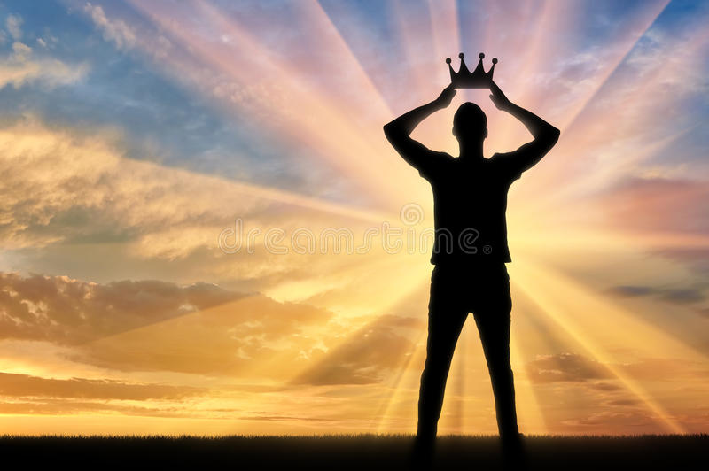 Concept of narcissism and selfishness man royalty free stock image