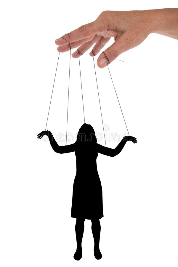 The puppet woman in Chinese shadow. Concept of narcissistic pervert with a hand handling a woman royalty free stock photography