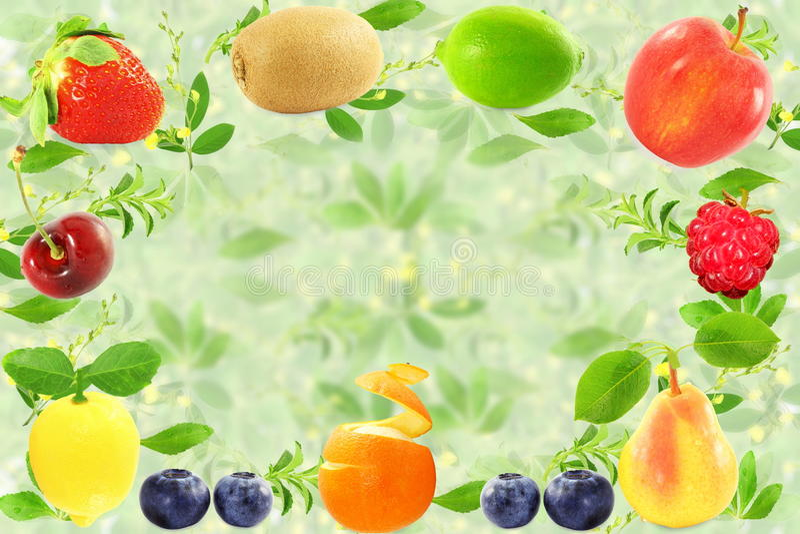 Concept naturel sain frais de nourriture de fond mélangé de fruits images stock