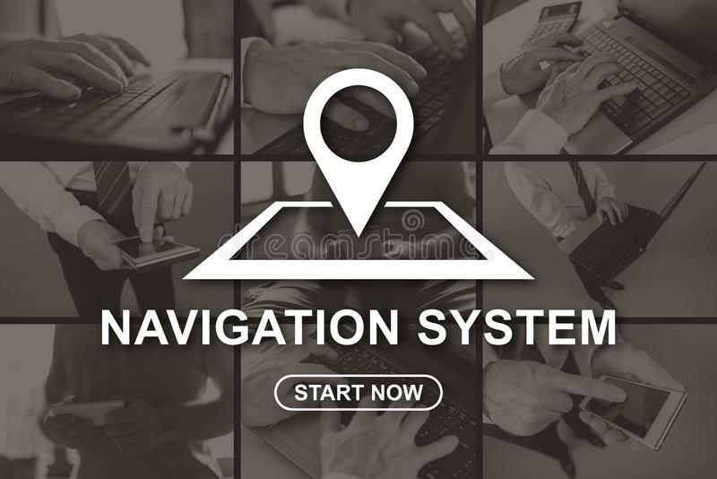 Concept of navigation system. Navigation system concept illustrated by pictures on background royalty free illustration