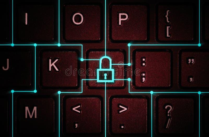 Concept netwerkbeveiliging, virusbescherming, gegevensbescherming stock fotografie