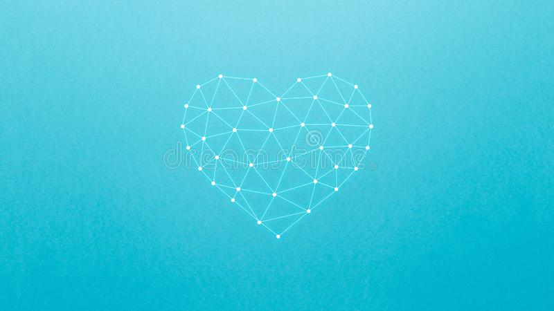 Concept of neural network with heart on the blue background. Artificial intelligence, machine and deep learning, neural networks vector illustration
