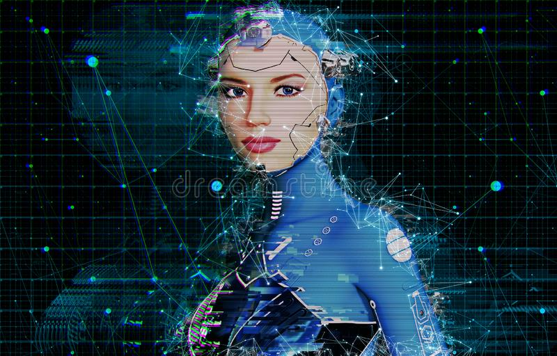 Artificial Intelligence AI Female Cyborg vector illustration