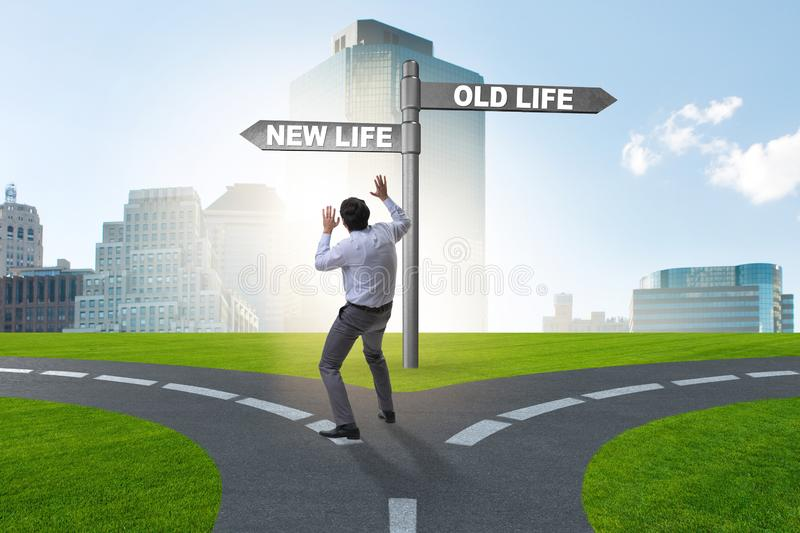 Concept of new and old life stock photos