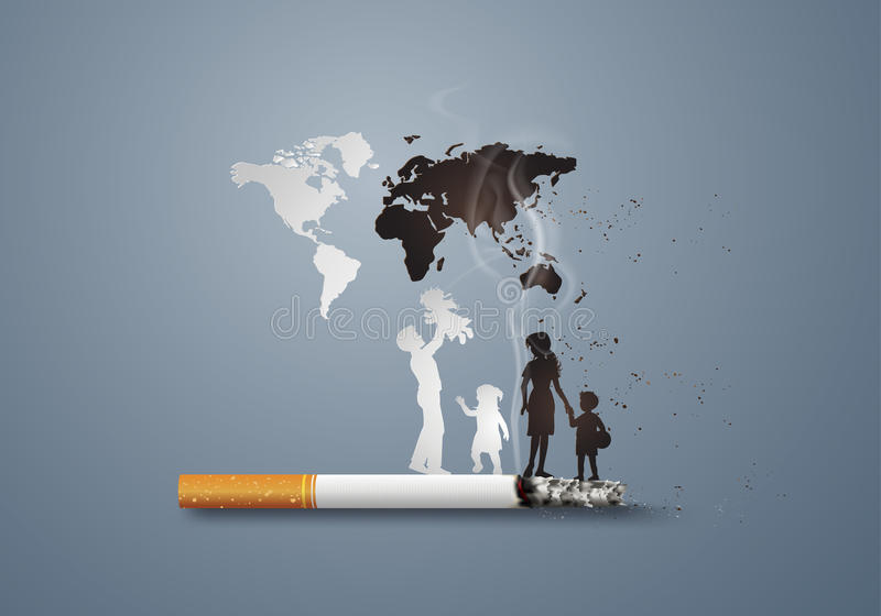 Concept no smoking day world. Illustration of concept no smoking day world with family,paper art style vector illustration