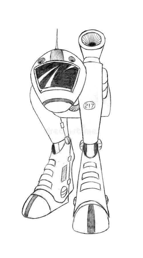 Concept noir Art Drawing de crayon du futur robot de la science fiction ou du réservoir militaire de marche illustration stock