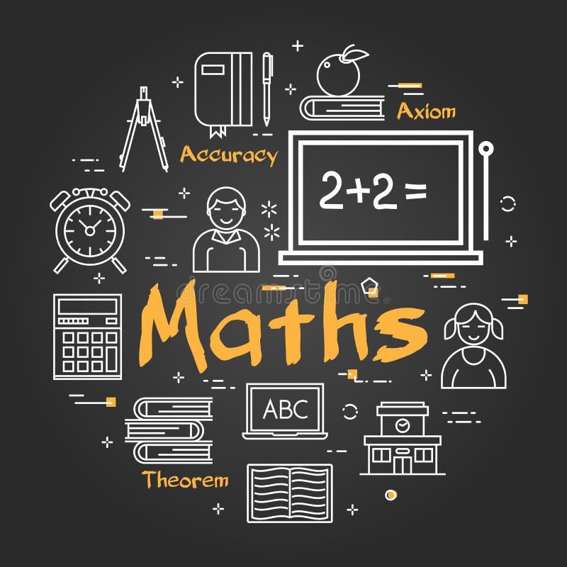 Concept noir d'école avec le sujet de maths illustration stock