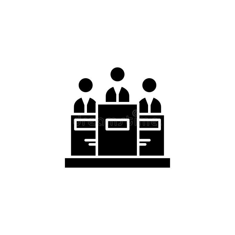 Concept noir d'essai d'icône Symbole plat d'essai de vecteur, signe, illustration illustration libre de droits