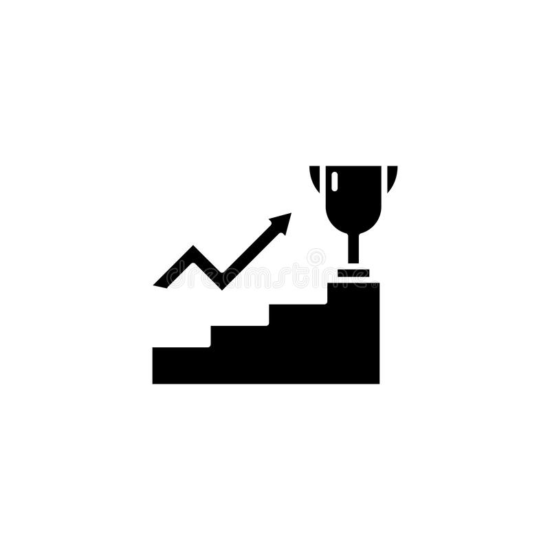 Concept noir d'icône d'ambitions de direction Symbole plat de vecteur d'ambitions de direction, signe, illustration illustration libre de droits