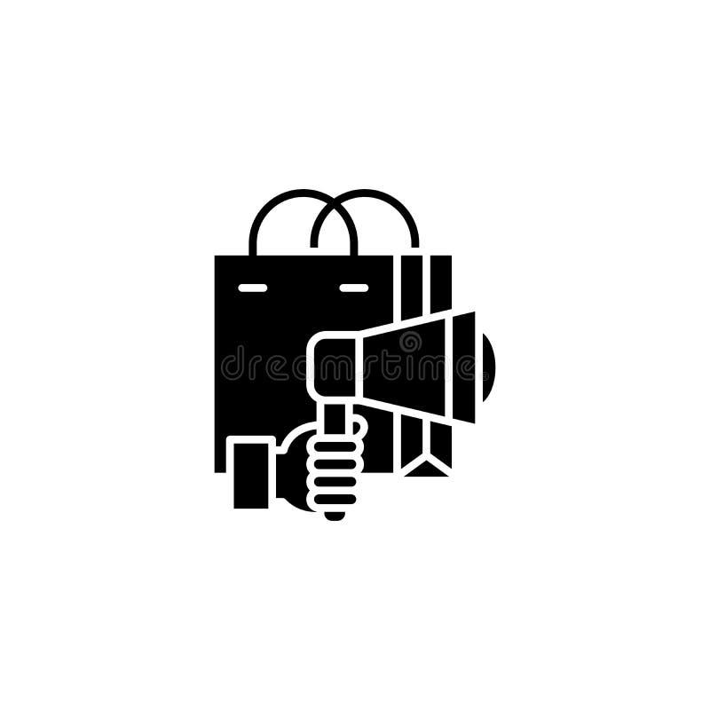 Concept noir d'icône de campagne de marketing Symbole plat de vecteur de campagne de marketing, signe, illustration illustration de vecteur