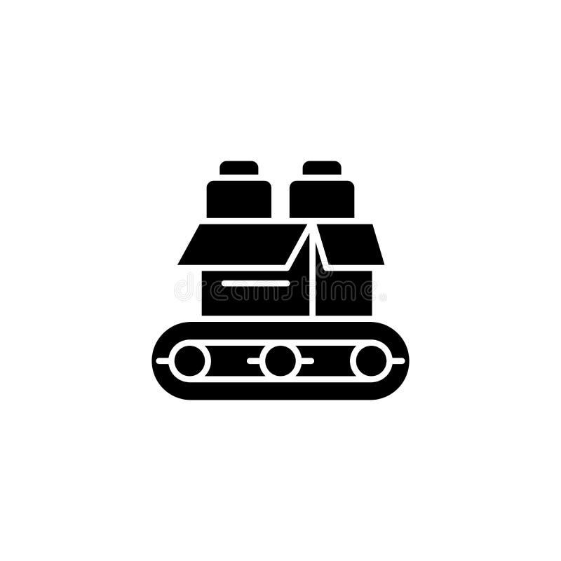 Concept noir d'icône de convoyeur Symbole plat de vecteur de convoyeur, signe, illustration illustration de vecteur