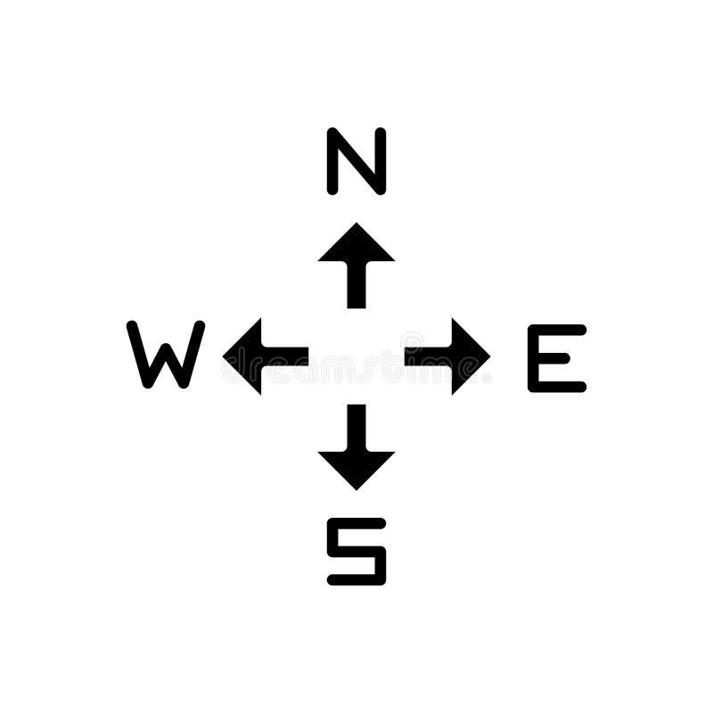 Concept noir d'icône de directions de boussole Faites le tour du symbole plat de vecteur de directions, signe, illustration illustration de vecteur