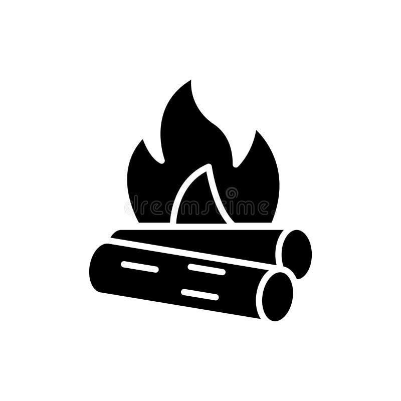 Concept noir d'icône de matériaux combustibles Symbole plat de vecteur de matériaux combustibles, signe, illustration illustration libre de droits