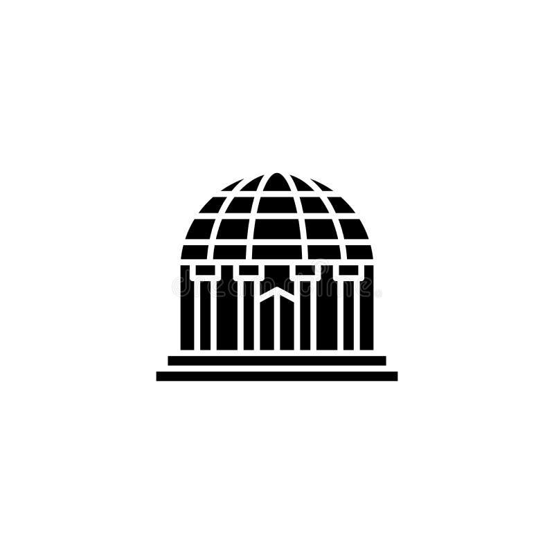 Concept noir d'icône de planétarium Symbole plat de vecteur de planétarium, signe, illustration illustration de vecteur