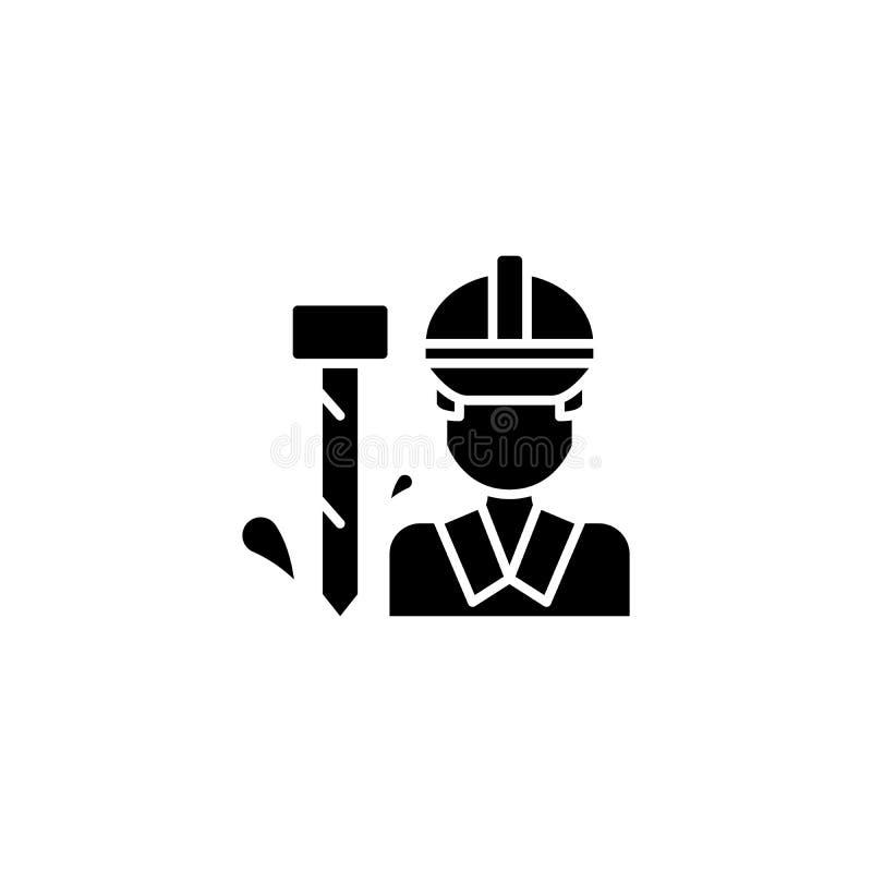 Concept noir d'icône de travailleur Symbole plat de vecteur de travailleur, signe, illustration illustration stock