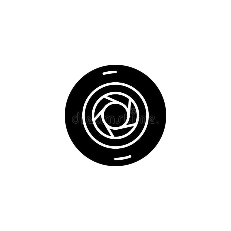 Concept noir d'icône d'ouverture Symbole plat de vecteur d'ouverture, signe, illustration illustration libre de droits