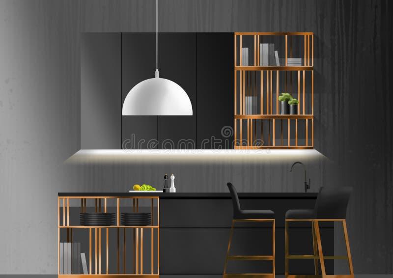 Concept noir de cuisine, peinture d'illustration photos libres de droits