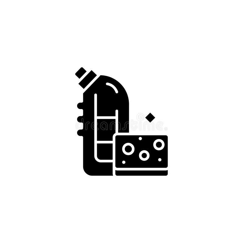 Concept noir de lavage d'icône de moyens Le lavage signifie le symbole plat de vecteur, signe, illustration illustration de vecteur
